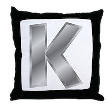 Silver Letter K Throw Pillow