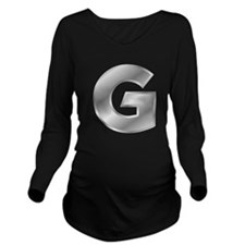 Silver Letter G Long Sleeve Maternity T-Shirt