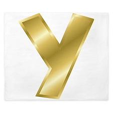 Gold Letter Y King Duvet