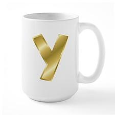 Gold Letter Y Mugs
