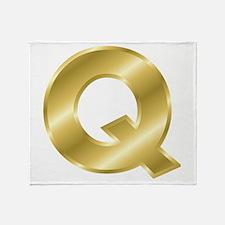 Gold Letter Q Throw Blanket