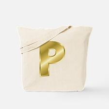 Gold Letter P Tote Bag