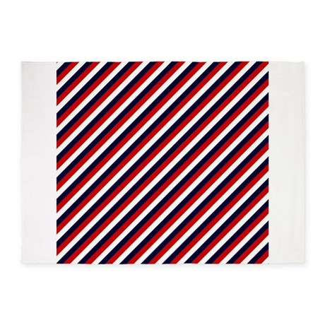 Red white and blue stripes 5 39 x7 39 area rug by stircrazy for Red and white striped area rug