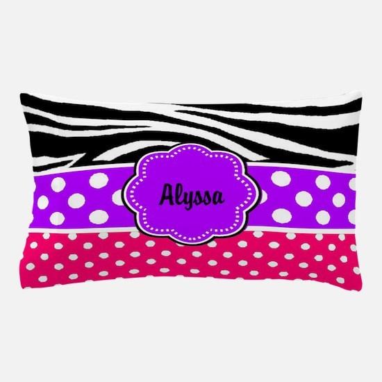 Pink Purple Zebra Personalized Pillow Case