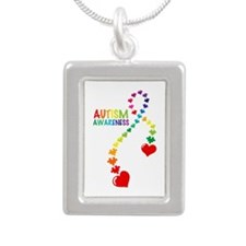 Autism Puzzle Ribbon Silver Portrait Necklace
