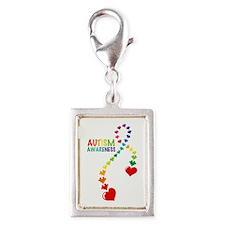 Autism Puzzle Ribbon Silver Portrait Charm
