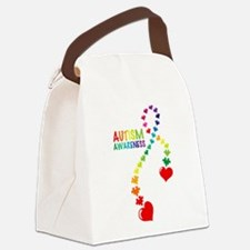 Autism Puzzle Ribbon Canvas Lunch Bag