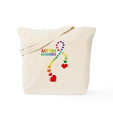 Autism Puzzle Ribbon Tote Bag
