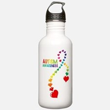 Autism Puzzle Ribbon Water Bottle
