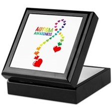 Autism Puzzle Ribbon Keepsake Box