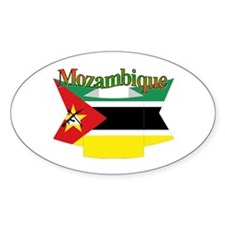Mozambique flag ribbon Oval Decal