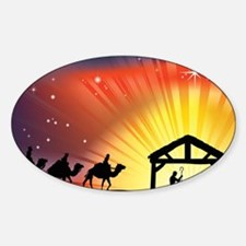 Christian Nativity Scene Sticker (Oval)
