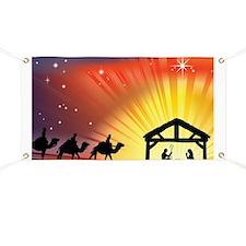 Christian Nativity Scene Banner