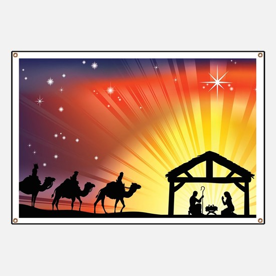 Christian Nativity Scene Banner