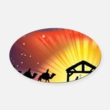 Christian Nativity Scene Oval Car Magnet