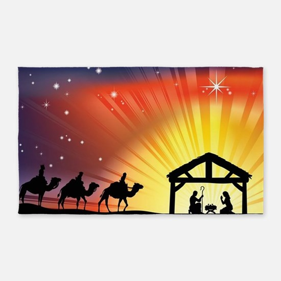 Christian Nativity Scene 3'x5' Area Rug