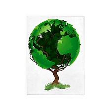 Globe world tree 5'x7'Area Rug