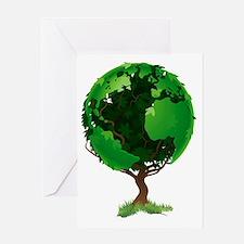 Globe world tree Greeting Card