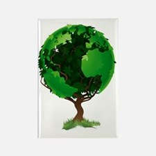 Globe world tree Rectangle Magnet