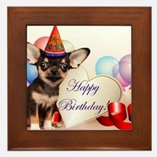 Happy Birthday Chihuahua dog Framed Tile