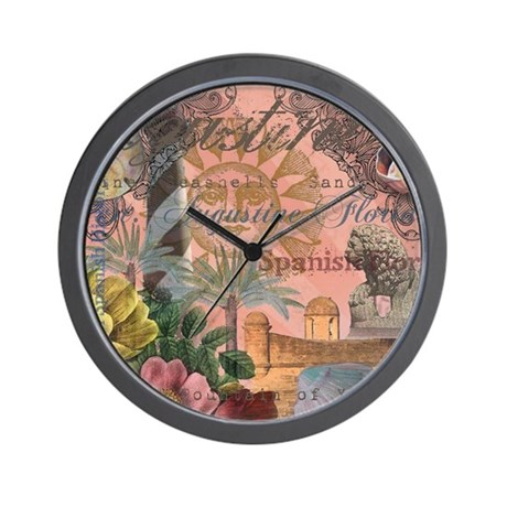 St. Augustine Florida Vintage Collage Wall Clock by doodlefly