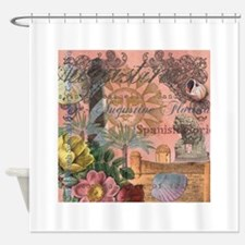 St. Augustine Florida Vintage Collage Shower Curta