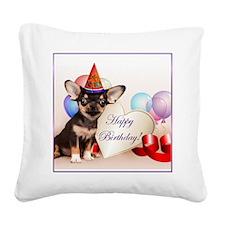 Birthday Chihuahua dog Square Canvas Pillow