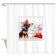 Birthday Chihuahua dog Shower Curtain