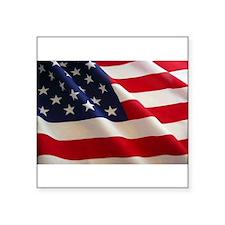 American Flag Oval Euro Sticker
