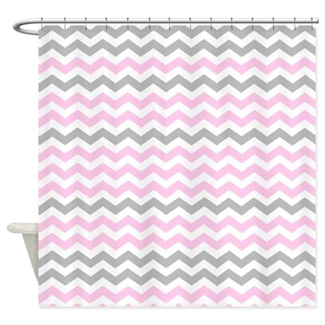 Gray and light pink chevrons shower curtain by for Light pink and gray curtains