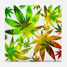 Marijuana Cannabis Leaves Pattern Tile Coaster