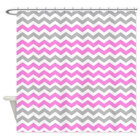 Gray and magenta chevrons Shower Curtain by ...