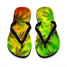 Marijuana Cannabis Leaves Pattern Flip Flops