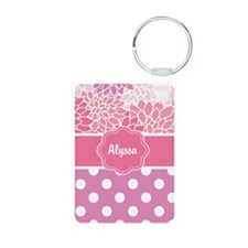 Pink Floral Dots Personalized Keychains