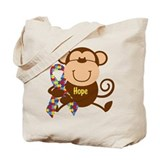 Autism monkey hope Canvas Totes