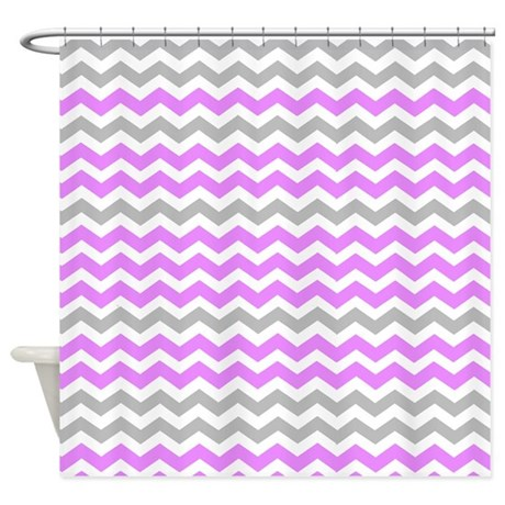 Gray And Purple Chevrons Shower Curtain By ShowerCurtainsWorld