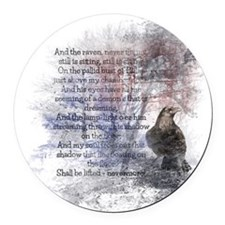 The Raven Edgar Allen Poe Poem Round Car Magnet