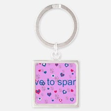 Cute Pink LOVE TO SPARKLE! Square Keychain