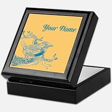 CUSTOM TEXT Vintage Bird Blue Keepsake Box