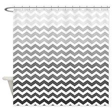 Gray Gradient chevrons Shower Curtain