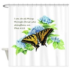 Motivational Scripture Butterfly Shower Curtain