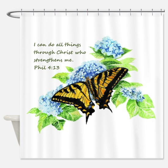 Motivational Scripture Butterfly Shower Curtain