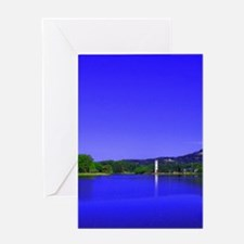 Lake and Bell Tower Greeting Cards