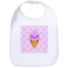 Strawberry Kawaii Ice Cream Cone bg Bib