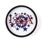 USA Stars Patriotic Wall Clock