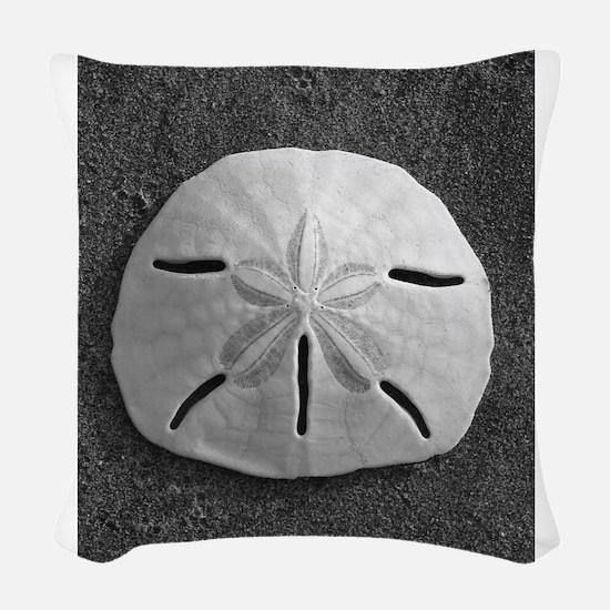 Sand Dollar Seashell Woven Throw Pillow