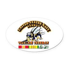 Navy - Seabee - Vietnam Vet Oval Car Magnet