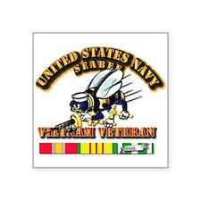 "Navy - Seabee - Vietnam Vet Square Sticker 3"""