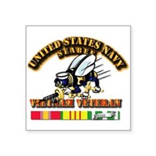 Navy - Seabee - Vietnam Vet Square Sticker 3""