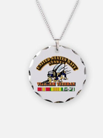Navy - Seabee - Vietnam Vet Necklace Circle Charm
